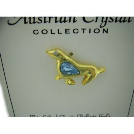 Austrian Blue Crystal Pin Badge